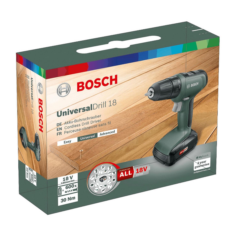 Акумулаторен винтоверт Bosch UniversalDrill 18 - 18 V, 1.5 Ah, 30 Nm