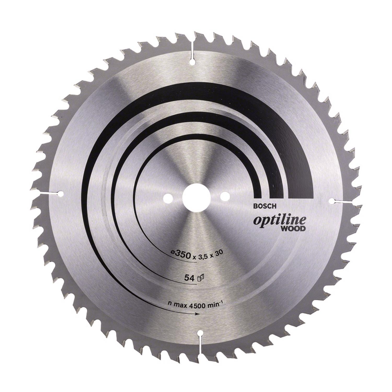 Циркулярен диск за рязане на дърво Bosch Optiline Wood - ф 350х30х3.5 мм, z 54