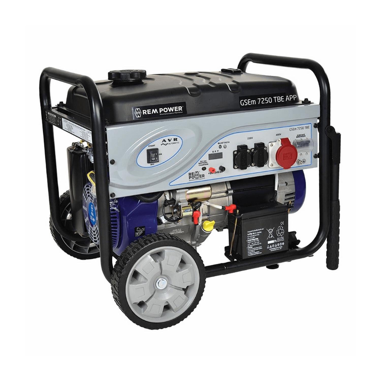 Трифазен бензинов генератор с електростартер REM Power GSEm 7250 TBE - 7.25 kW, 230/400 V, 15 к.с., 16.9 A