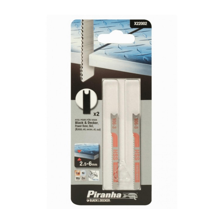 Нож за прободен трион - зеге за метал Black&Decker Piranha - 2х48 мм, 2.5-6 мм, 2 бр.