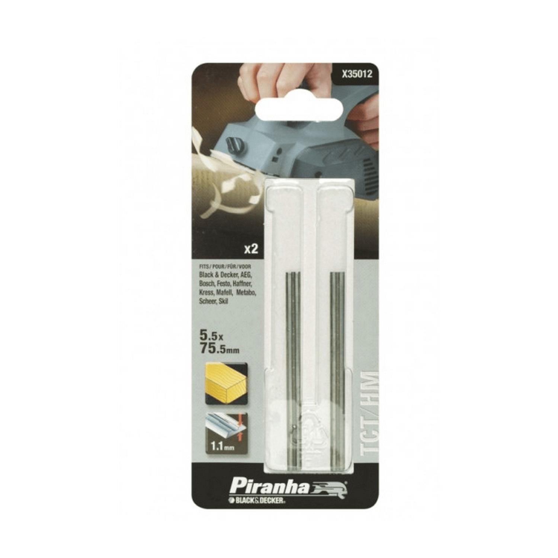 Нож за ренде твърдосплавен Black&Decker Piranha - 75.5 мм, 2 бр.