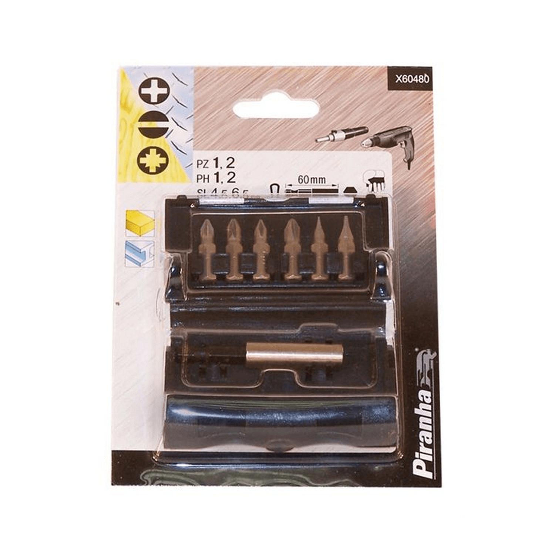 Комплект накрайници PH/PZ/SB с магнитен държач 1/4 Black&Decker Piranha - 7 бр.